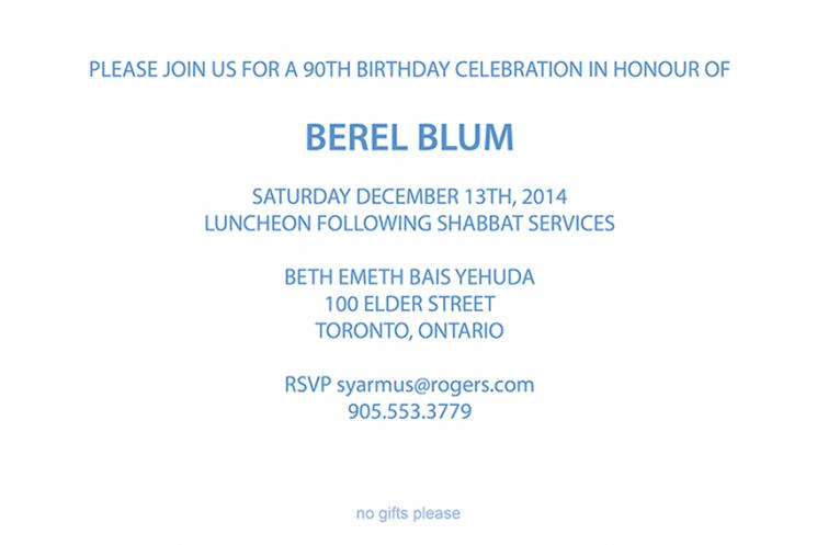 90th Birthday - INVITATION (inside)
